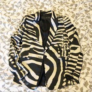 Zara jacket, zebra pattern cream & black size M